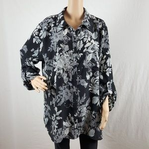 Blouse Plus 2X Size 18W/20W Black White Career Top